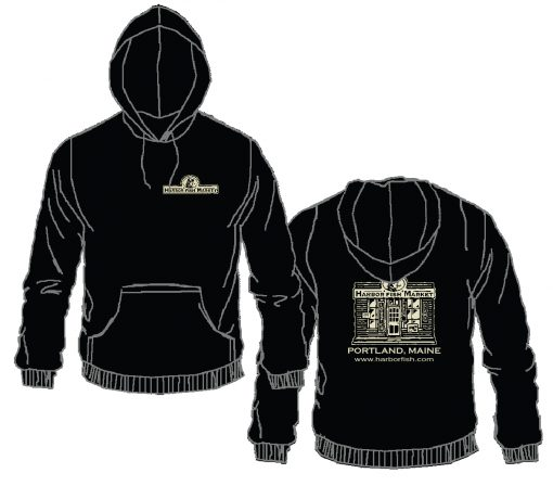 Harbor Fish Logo Hooded Pull Over Black